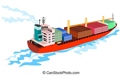 Container ship - Illustration on marine transport