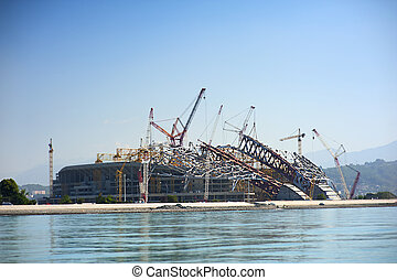 construction of Olympic facilities in Sochi. building an ice...