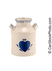 Ceramic vase dish blue heart isolated on white - Ceramic...