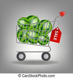 Ilustración, Lleno, compras, supermercado,  vector, sandía, carrito