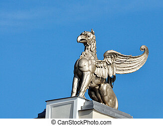 Statue of a griffin on Drobeta Turnu Severin theater