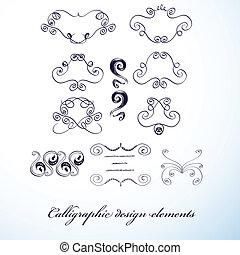 Calligraphic design elements - Vintage calligraphic design...