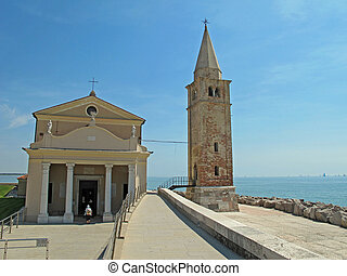 place and bell Tower in Caorle near Venezia