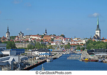 panorama of the town of Estonia with the rides on the river...