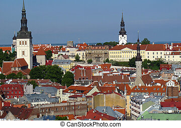 roof landscape seen from the top of a city in Estonia in...