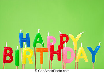 Happy Birthday candle text - colorful candles forming the...