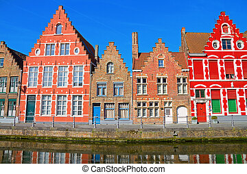Brugges, Belgium. - detailed view of typical houses and...