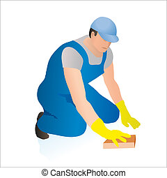 Professional cleaner wiping the floor with a sponge
