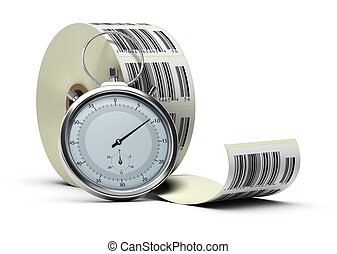 barcode stickers bobbin over white background with one stopwatch