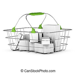 average basket with some products inside, green handles...