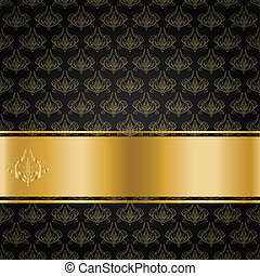 The black background with gold floral ornament and ribbon for your text