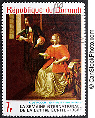 Postage stamp Burundi 1968 The Letter by Pieter de Hooch -...
