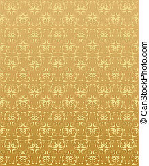 The gold background with abstract floral elements