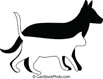 Cat and dog walking silhouettes - Cat and dog walking...