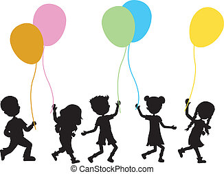 children with balloons background - silhouettes children...