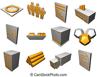 Logistics Process Icons For Supply Chain Diagram in Orange...