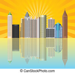 Atlanta Georgia City Skyline Illustration - Atlanta Georgia...