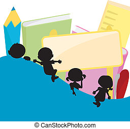 children silhouettes background - children silhouettes with...
