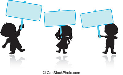 happy children with signs background - happy silhouettes...