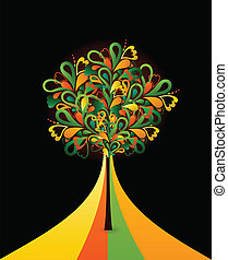 Painting abstract tree on black card. Vector