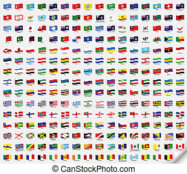 Big set wavy flags. Vector illustration - Set wavy flags....