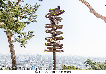 world city direction distance sign - world famouse city...