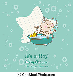 Baby Boy Shower and Arrival Card - with place for your text...
