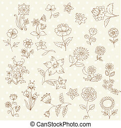 Set of Hand Drawn Flowers - for scrapbook and design in vector