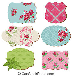 Scrapbook Design Elements - Vintage Tags with Flowers - in...