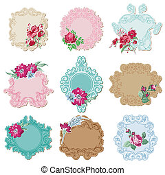 Scrapbook Design Elements - Vintage Tags and Frames with Flowers - in vector