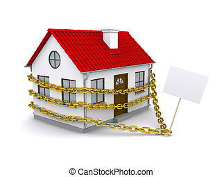 House with a sign enmeshed gold chain. Isolated on white...