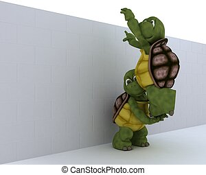 tortoise with jigsaw puzzle - 3D render of a tortoise with...