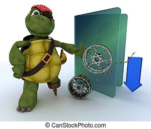 Pirate Tortoise depicting illegal movie downloads