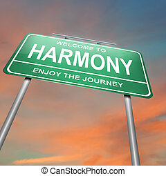 Harmony concept - Illustration depicting a green roadsign...