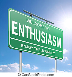 Enthusiasm concept. - Illustration depicting a green...