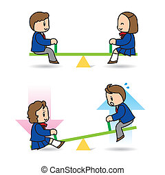 Those who ride on seesaw - As for this illustration, persons...