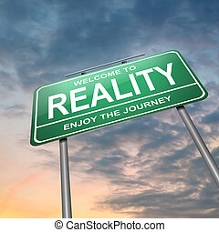 Reality concept - Illustration depicting a green roadsign...