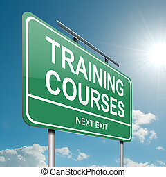 Training courses concept - Illustration depicting a green...