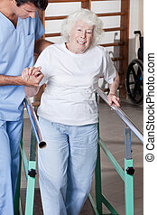 Doctor helping Patient - A doctor assisting a senior citizen...