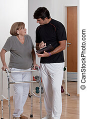 Patient with Walker and Physician