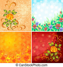 Set abstract floral backgrounds - Set abstract holiday...