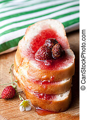 Strawberry jam and bread - Strawberry jam with whole fruit...