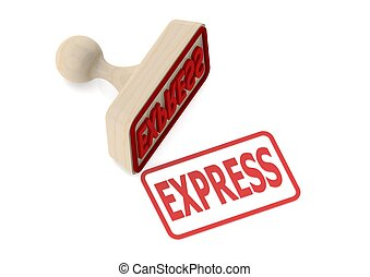 Wooden stamp with express word