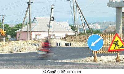 Repair of road, traffic. Time lapse