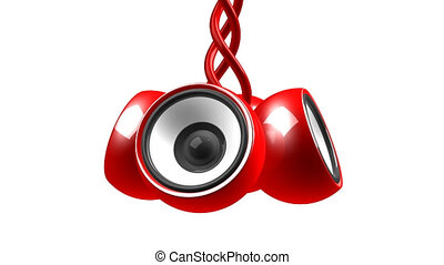 red hanging audio system over white background