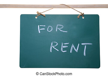 For rent sign on chalkboard