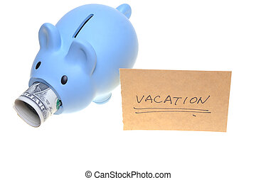 Piggy bank saving for vacation