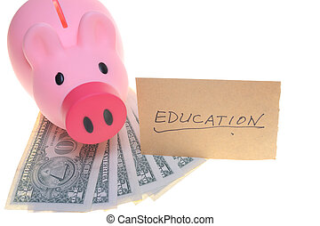 Piggy bank saving for education concept, isolated on white...