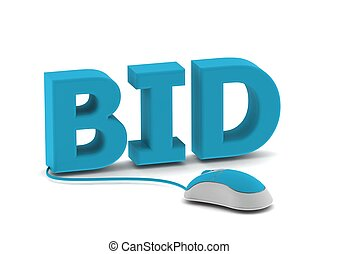 Bid and computer mouse - Rendered artwork with white...