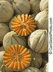 listo, Mercado, melón cantalupo, Melones, venta